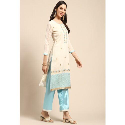 Rajnandini Beige & Blue Embellished Semi-Stitched Dress Material