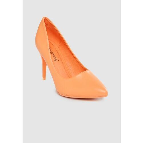 DressBerry Women Orange Solid Slim Heels