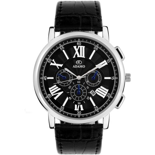 ADAMO A300SL02 ARISTOCRAT wristwatch / watchs Scratch Resistant Black Dial Round Shaped with Synthetic Leather Strap Premium watch for Men and Boys Analog Watch - For Men
