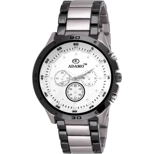 ADAMO AD50SM01 Designer wristwatch / watchs Scratch Resistant White Dial Round Shaped with Metal Chain Premium watch for Men and Boys Analog Watch - For Men