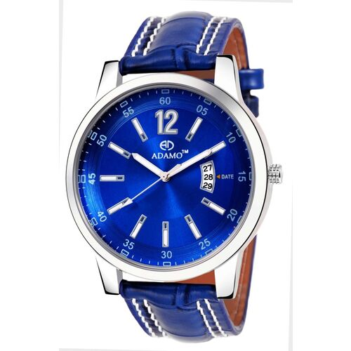 ADAMO 9322SB05 Legacy wristwatch / watchs DAY AND DATE FUNCTIONING Blue Dial 0 Shaped with Synthetic Leather Strap Premium watch for Men and Boys Analog Watch - For Men
