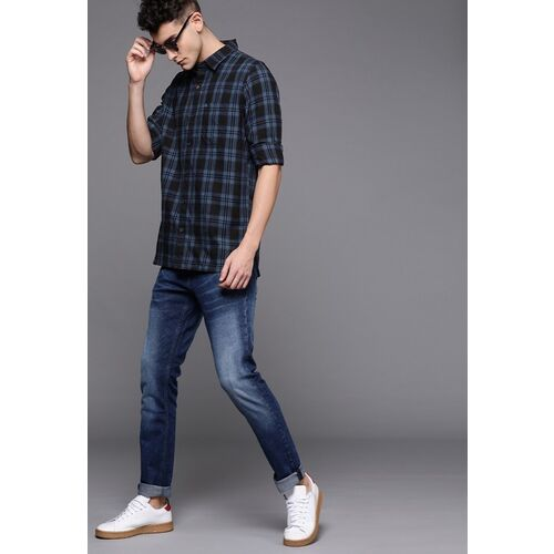 WROGN Men Black & Blue Slim Fit Checked Casual Shirt