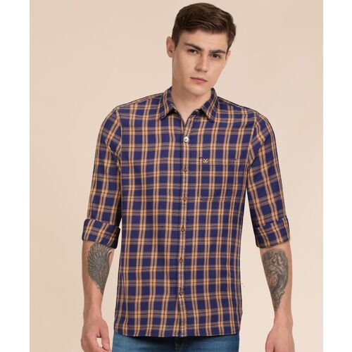 Wrogn Men Checkered Casual Blue Shirt