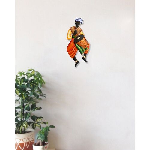 eCraftIndia Tribal Musician Theme Handcrafted Iron Wall Hanging