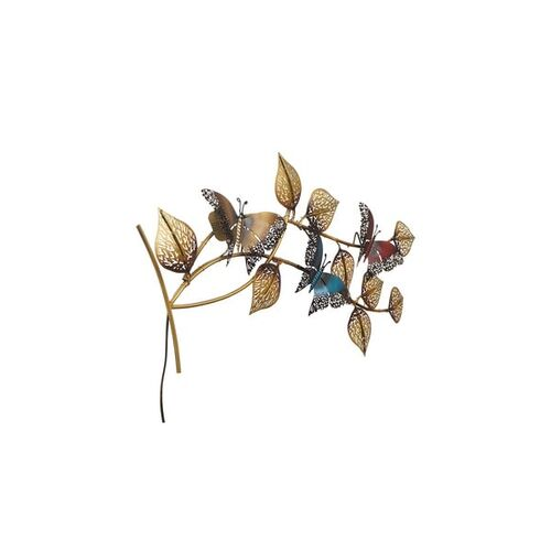 eCraftIndia Decorative Leaves and Butterfly Design Handcrafted Iron Wall Hanging with background LED