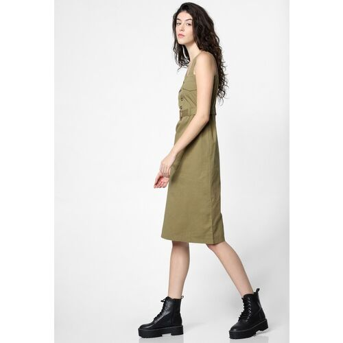 ONLY Women Olive Green Solid A-Line Dress