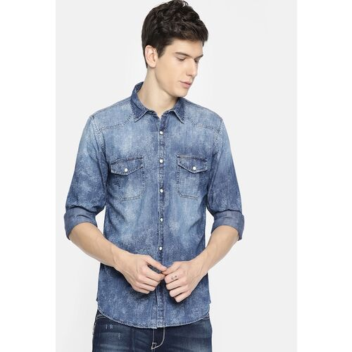 Pepe Jeans Men Blue Regular Fit Printed Casual Washed Chambray Shirt