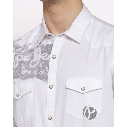 Pepe Jeans Typographic Print Shirt with Flap Pockets