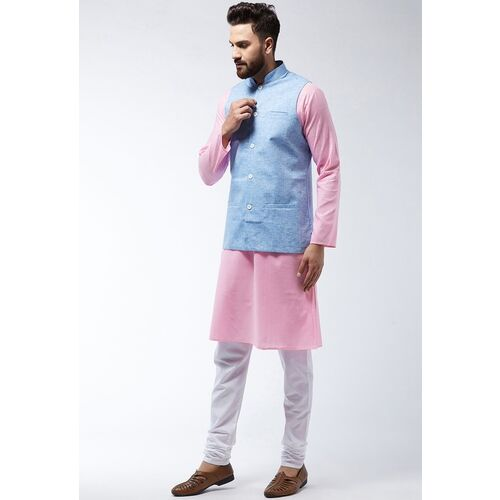 Sojanya (Since 1958) Men's Cotton Linen Kurta With White Pyjama & Nehrujacket Combo