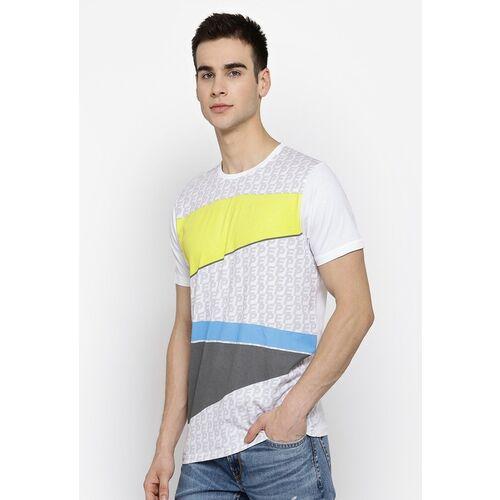 Pepe Jeans Men White & Grey Printed Round Neck T-shirt