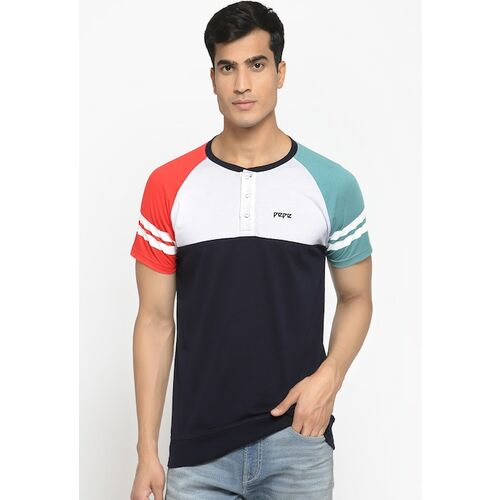 Pepe Jeans Men Navy Blue & White Colourblocked Henley Neck Cotton T-shirt