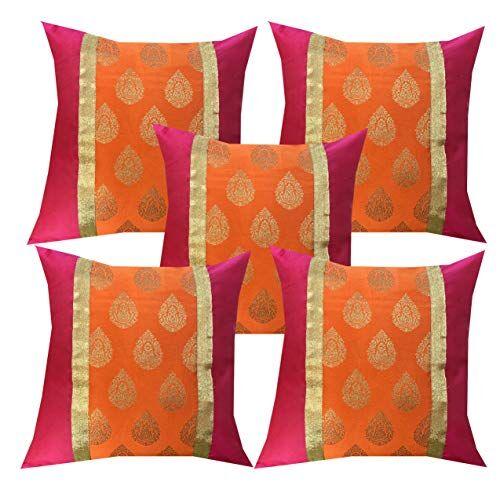 Pink parrot- Jacquard dopian Silk Multi Colour Cushion Cover 16x16 inch-Set 5 pcs