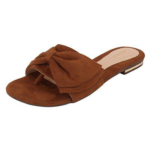 Catwalk Women's Bow Detail Suede Slip Ons