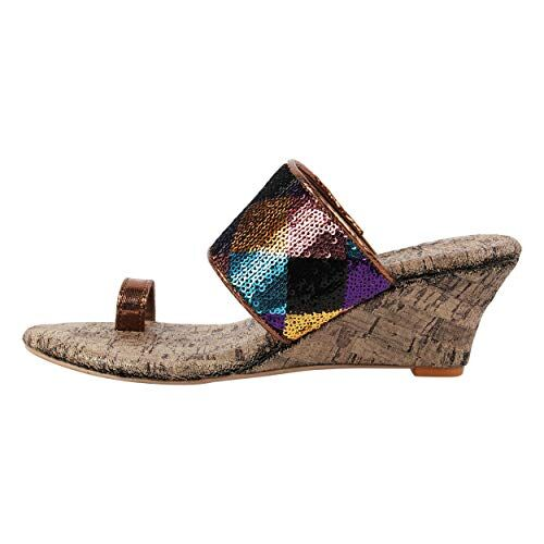 Catwalk Women's Multi Color Sequin Toe Ring Wedges