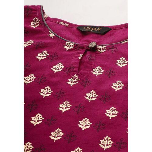 ZIYAA Women Pink Foil Printed Straight Kurta