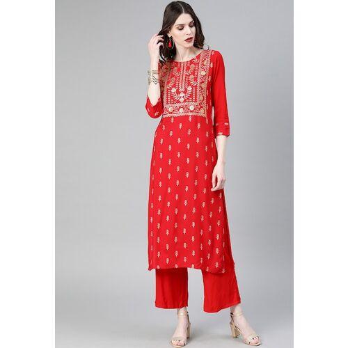 ZIYAA Women Red & Gold-Toned Foil Printed Straight Kurta