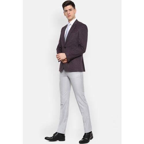 Van Heusen Men Purple Self-Design Slim-Fit Single-Breasted Formal Blazer