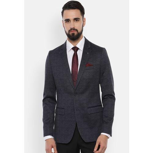 Van Heusen Men Navy Blue Self-Design Slim-Fit Single-Breasted Blazer
