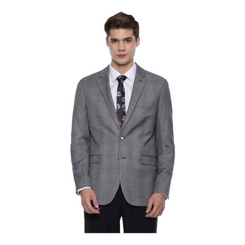 Van Heusen Grey Slim Fit Plaided Blazer