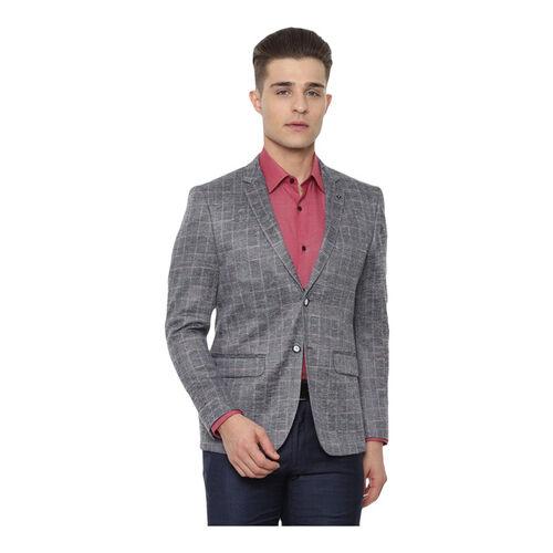 Van Heusen Grey Slim Fit Self Pattern Blazer