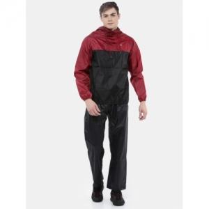Wildcraft Maroon Polyester Colorblock Hooded Unisex Raincoat