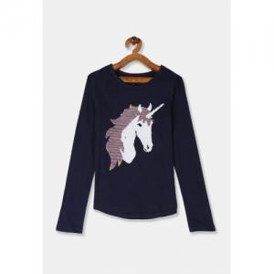 GAP Girls Navy Blue & White Flipped Sequin Unicorn Pure Cotton T-shirt