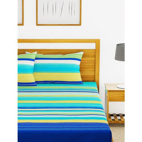 bianca 180tc satin-twill 100% cotton xl-king-size double bedsheet with 2 pillow cover - heavy & soft fabric -3pc set- (callista)