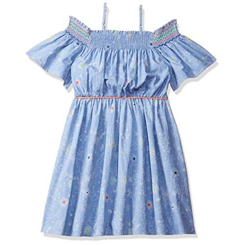 Nauti Nati Light Blue Printed Cotton Dress for Girls