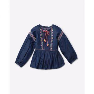 Nauti Nati Embroidered A-line Dress with Raglan Sleeves