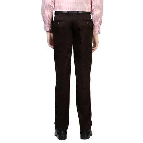 Peter England brown cotton blend flat front formal trouser