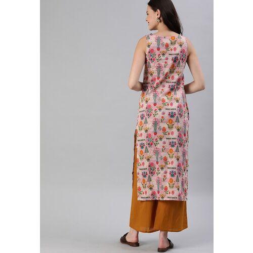 Anouk Women Pink & Mustard Yellow Printed Straight Kurta
