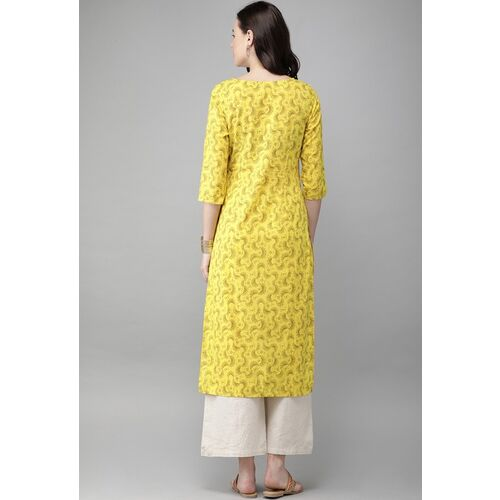 Anouk Women Yellow & Brown Printed Straight Kurta