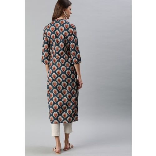 Anouk Women Grey & Red Printed Straight Kurta