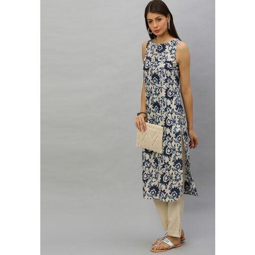 Anouk Women White & Navy Blue Printed Straight Kurta