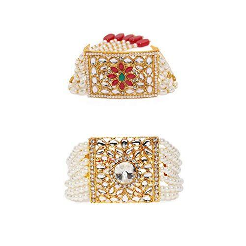 Zaveri Pearls Combo of 2 Stunning Traditional Pearl & Kundan Wedding Collection Bracelet For Women-ZPFK9052