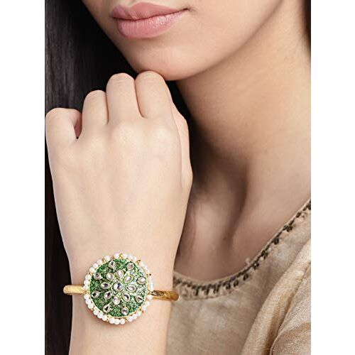 Zaveri Pearls Enamelling Green Kundan & Pearls Traditional Bangle Style Kada For Women-ZPFK9620