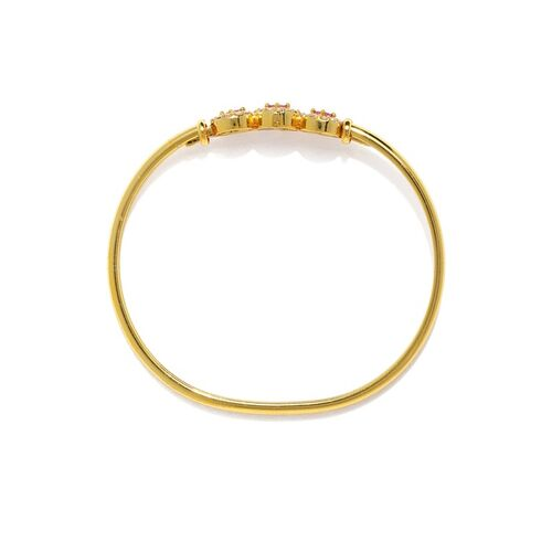 Zaveri Pearls Pink Gold-Plated Cubic Zirconia Studded Kada Bracelet