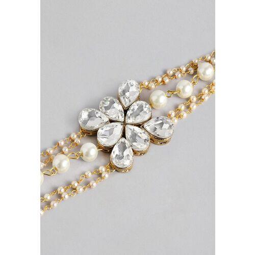 Zaveri Pearls White Gold-Plated Stones & Beads Embellished Multistrand Wraparound Bracelet