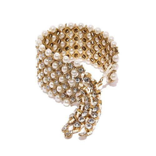 Zaveri Pearls Gold-Plated Pearl & Stone Studded Wraparound Bracelet