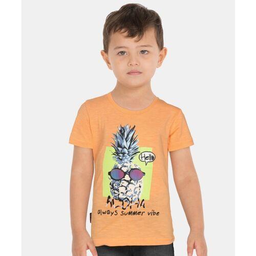 GINI & JONY Boys Graphic Print Cotton Blend T Shirt(Orange, Pack of 1)