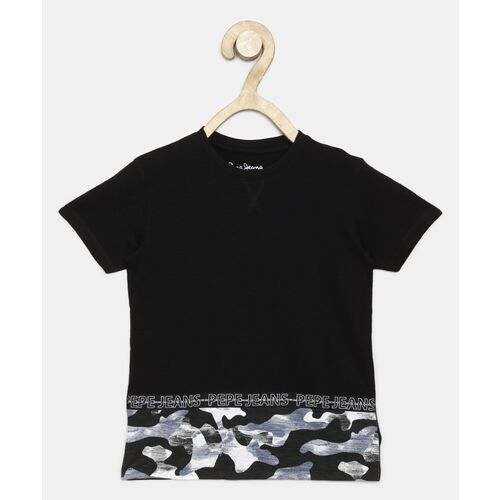 Pepe Jeans Boys Printed Pure Cotton T Shirt(Black, Pack of 1)