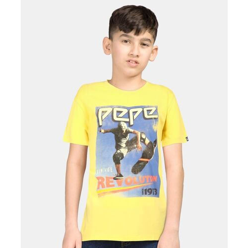 Pepe Jeans Boys Printed Pure Cotton T Shirt(Yellow, Pack of 1)