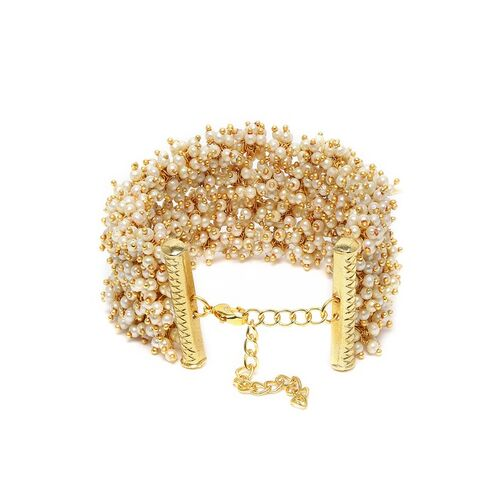 Zaveri Pearls Gold-Plated Clustered Pearls Cuff Bracelet