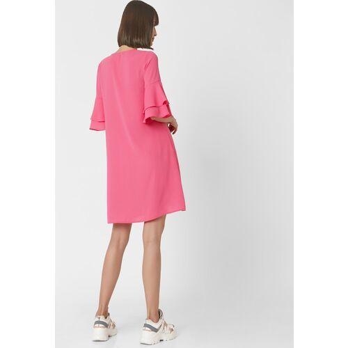 Vero Moda Pink Bell Sleeves A-Line Dress