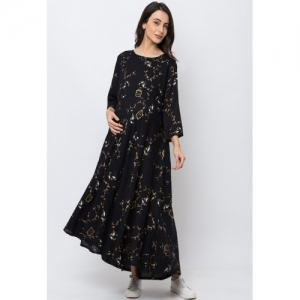 MomToBe Women Black & Brown Printed Maternity Maxi Dress