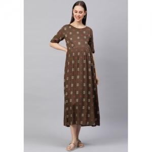 MomToBe Brown Ethnic Motifs A-Line Midi Maternity Dress