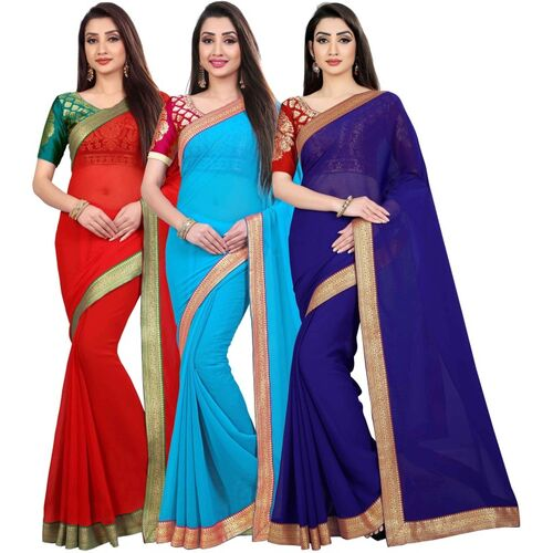 Anand Sarees Anand Solid Fashion Chiffon Saree(Pack of 3, Multicolor)
