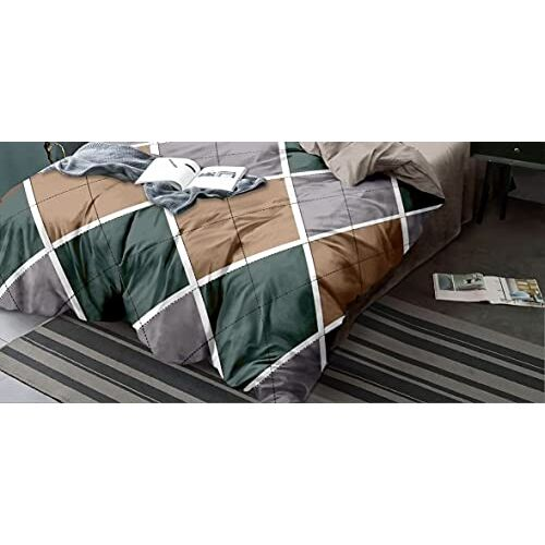 Vivea Reserve Supersoft Glace Cotton Double Bed AC Comforter Set King Size Double Bed with 1 Flat bedsheet and 2 Pillow Covers II 4 pc Bedding Set - Brown Multibox Design