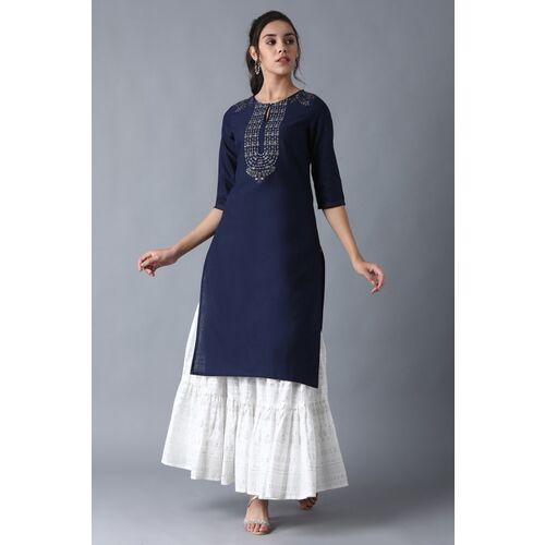 W for Woman W Women Embroidered Straight Kurta(Blue)