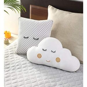 Oscar Home Cotton Cloud and Cushion Shaped Pillow for New Born Baby Kids (Standard Size, White, Set of 2 )